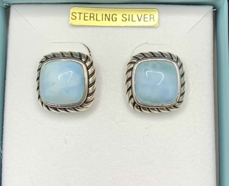 Sterling Silver Square Larimar Post Earrings