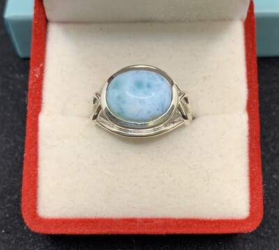 Oval Larimar Sterling Silver Fashion Ring