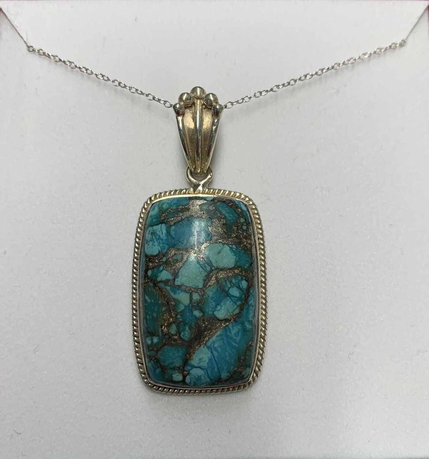 Beautiful Copper Turquoise Sterling Silver Pendant And Chain Necklace
