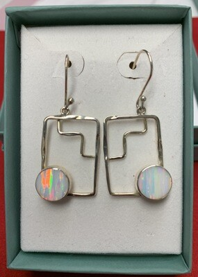 Lab Created Opal Sterling Silver Hanging Earrings