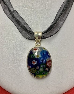 Glass Millefiori Sterling Pendant With Ribbon Cord Necklace