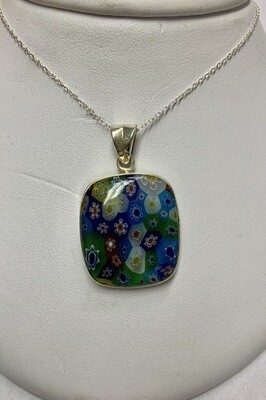 Glass Millefiori Sterling Silver Pendant And Chain Necklace