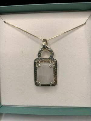 White Moonstone Pendant Sterling Silver Necklace