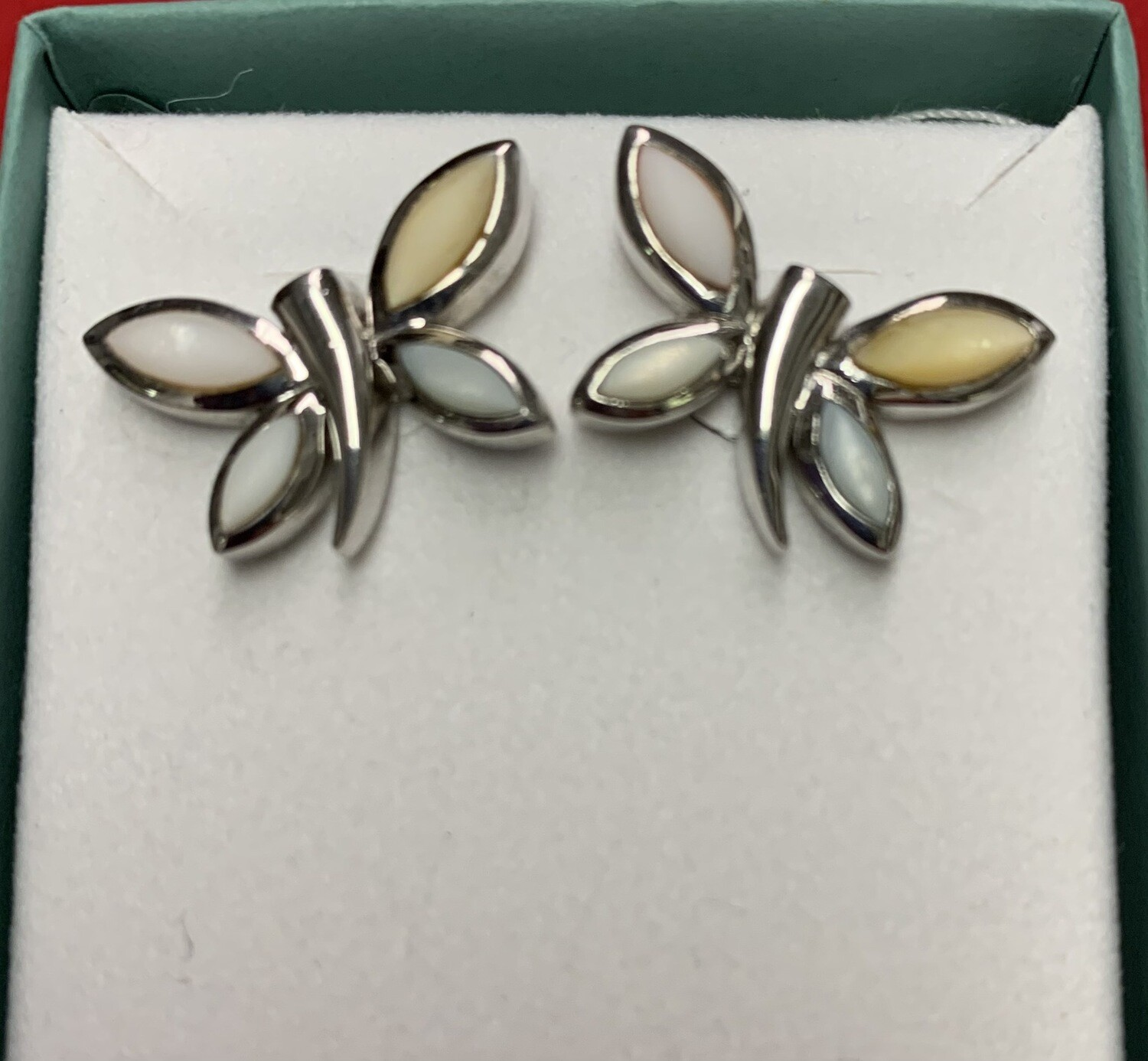Multi Color Pastel Mother Of Pearl Sterling Silver Butterfly Earrings