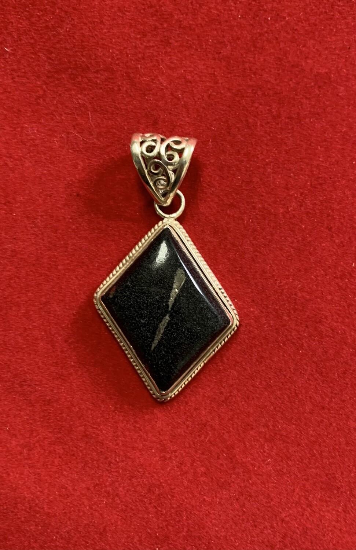 Black Agate Pendant Sterling Silver