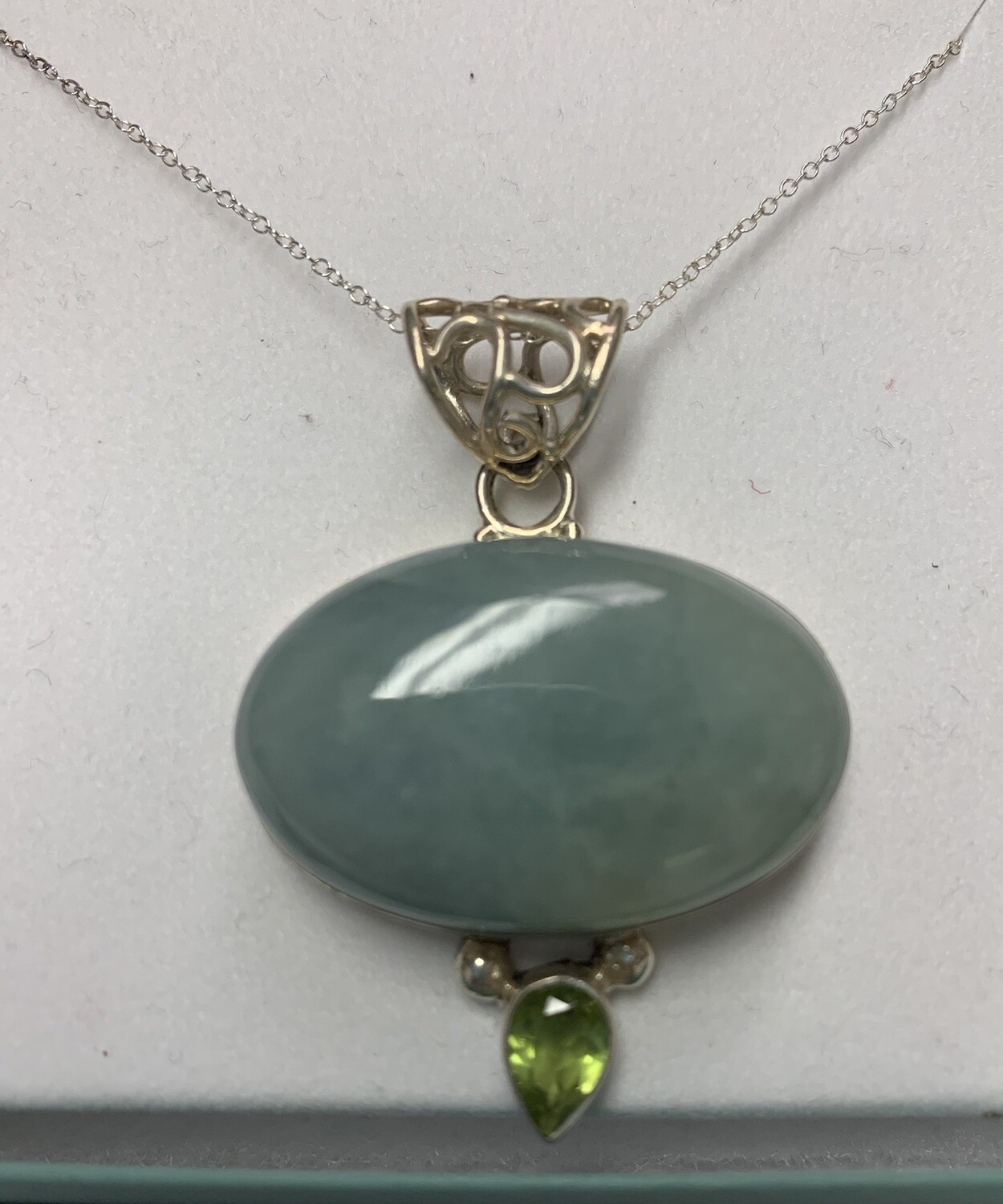 Translucent Green Agate Sterling Silver Pendant With Chain Necklace