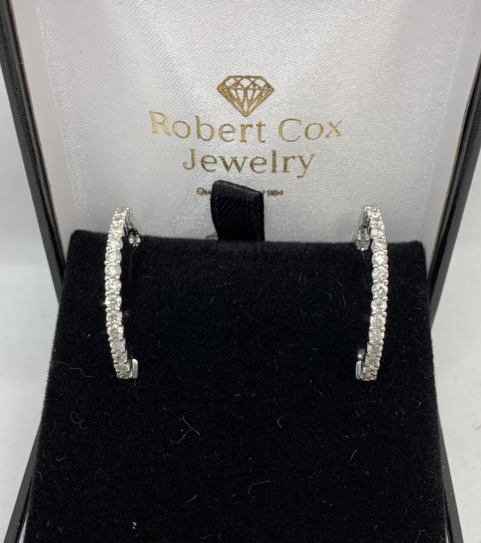 2 Ct Diamond Inside Out Earrings 10 Kt White Gold