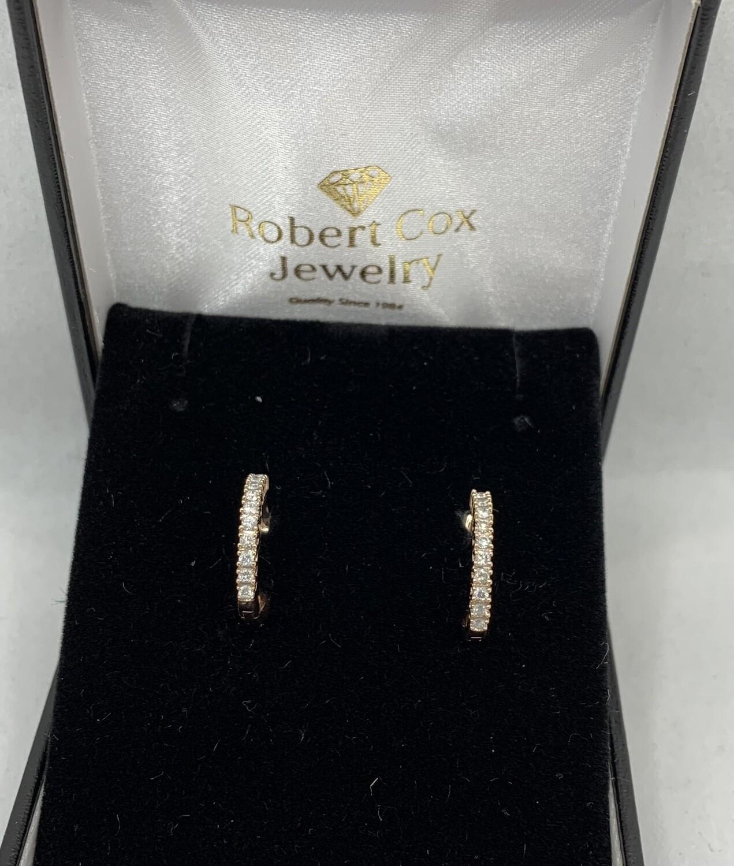 10kt Rose Gold 1/3 Ct Diamond Hoop Earrings