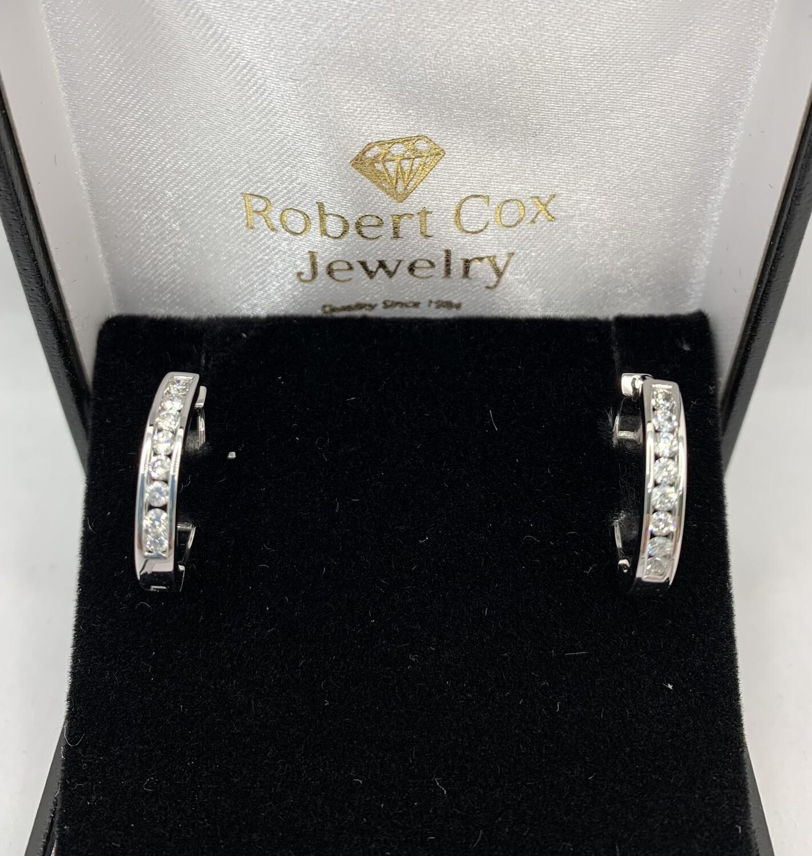 1/2 Ct White Gold Diamond Hoops