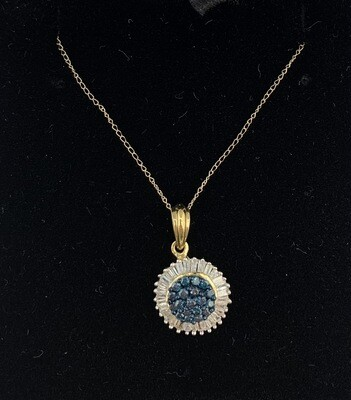 1/2 Ct Total Weight Blue Diamond Cluster With White Baguette Halo Pendant Necklace