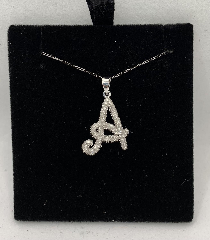 "Sparkling Diamond Initial ""A"" Pendant Necklace"