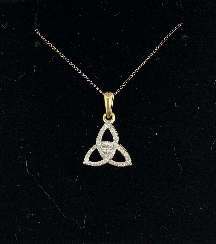 1/8 Ct Diamond 10 Kt Yellow Gold Pendant Necklace