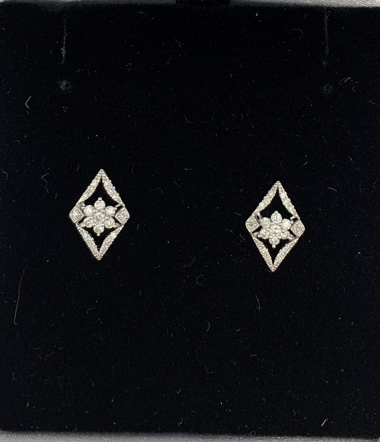 Diamond Framed Diamond Flowers Earrings
