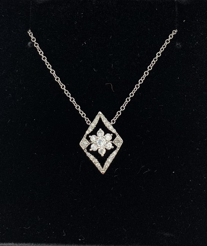 White Gold 1/3 Ct Diamond Framed Flower Pendant Necklace