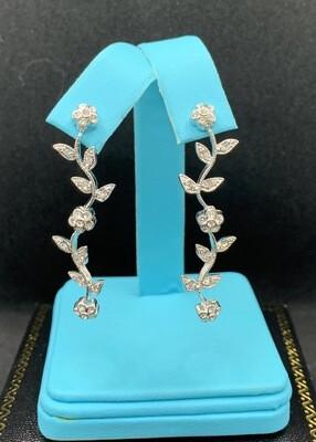 Sterling Silver CZ Flowering Vine Dangling Earrings