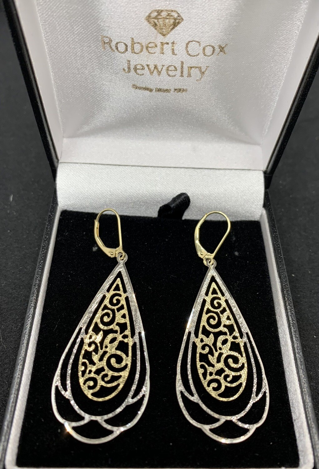 Laser Cut 14 Kt Two Tone Filigree Dangle Earrings With Lever Back