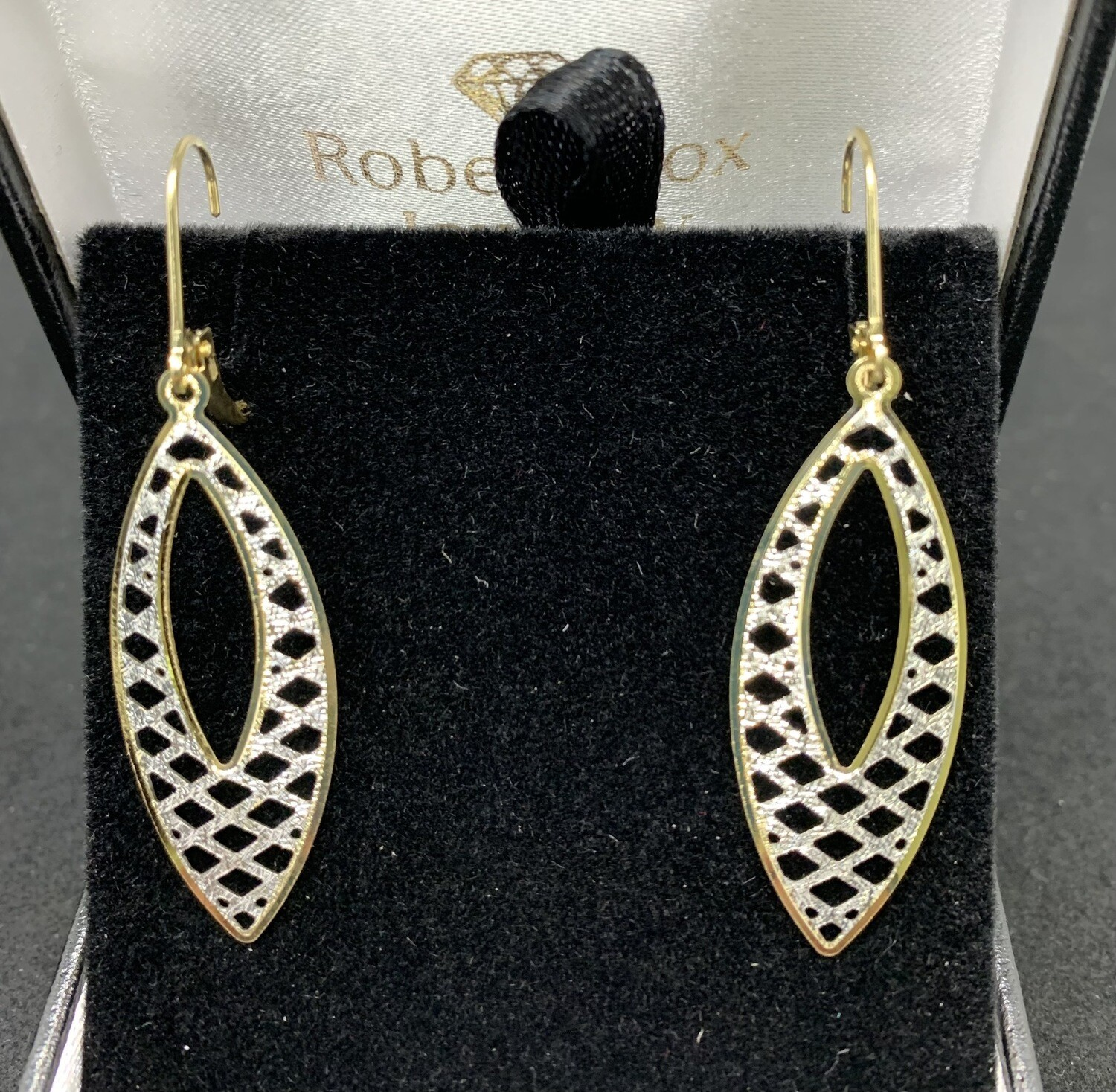 Laser Cut 14 Kt Two Tone Gold Filigree Dangling Earring With Lever Backs