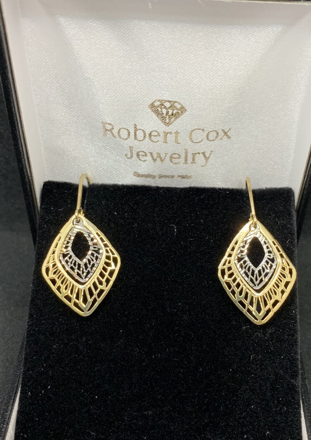 Laser Cut 14 Kt Two Tone Gold Filigree Dangle Earrings With Lever Back
