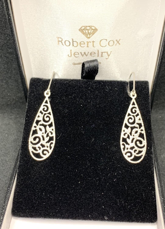 Laser Cut 14 Kt White Gold Filigree Dangle Earrings With Lever Back