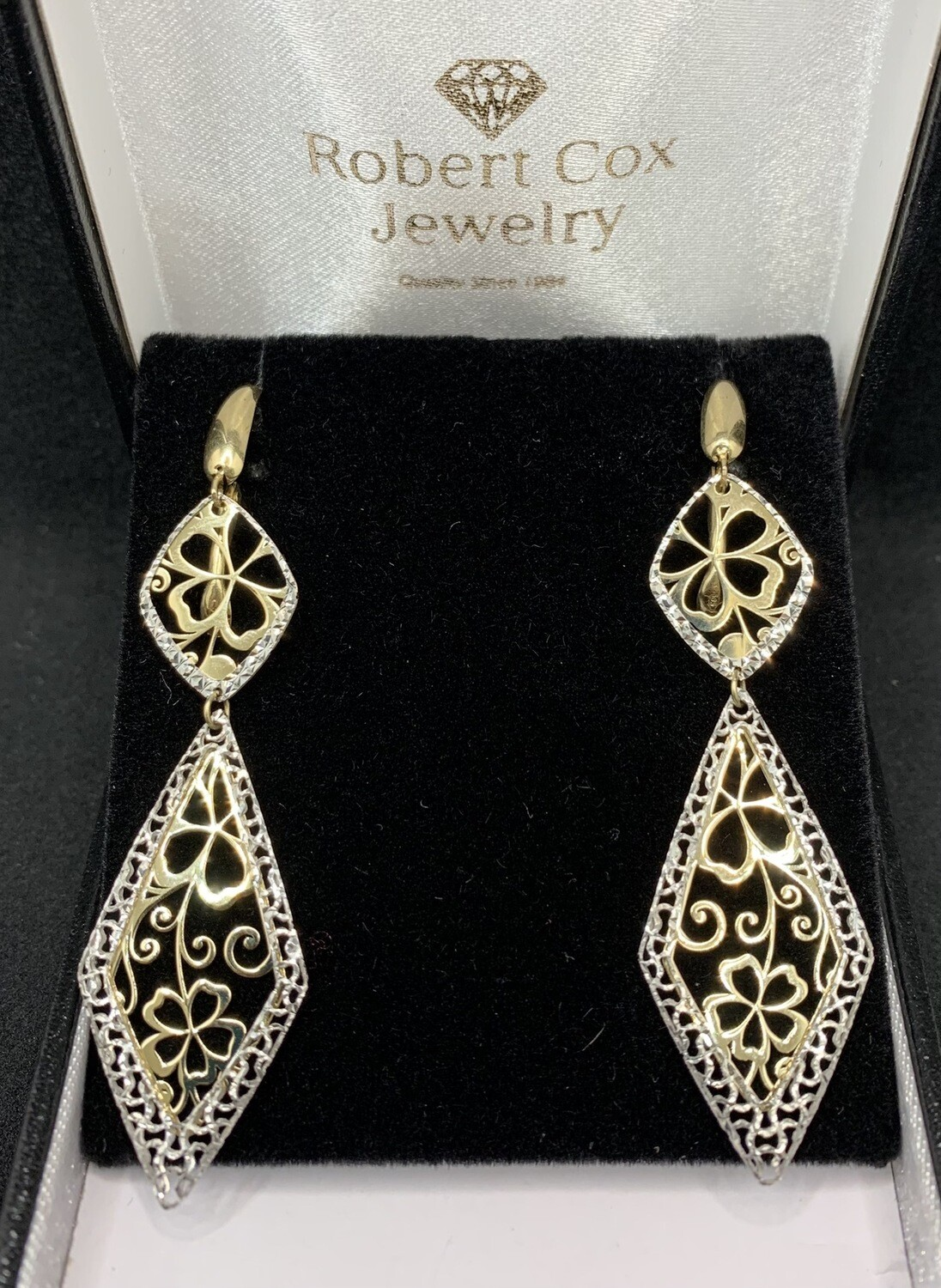 Laser Cut 14 Kt Two Tone Gold Filigree Dangling Earrings With Lever Back