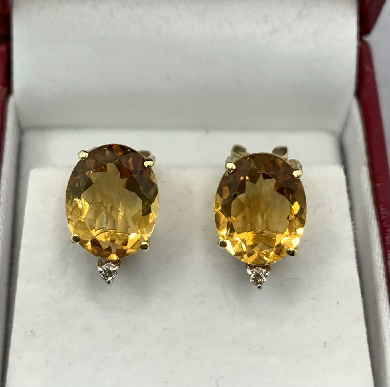 11mm X 7mm Stunning Citrine Earrings Diamond Accent