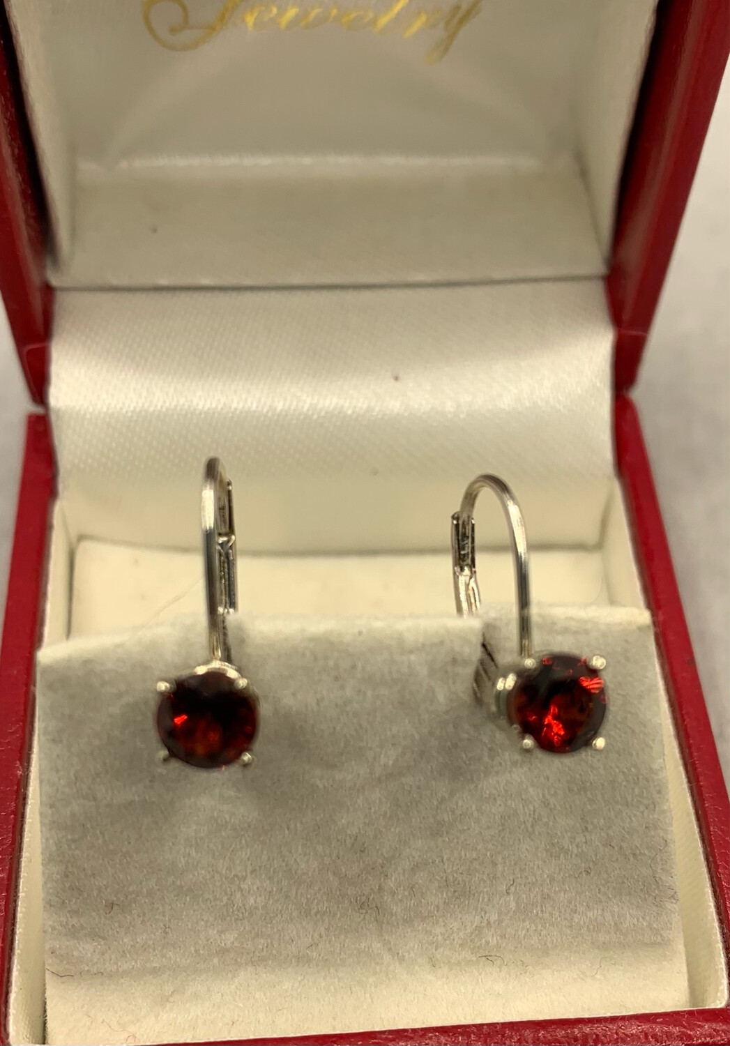 Garnet Lever Back Earrings Brilliant Cut Easy Off And On