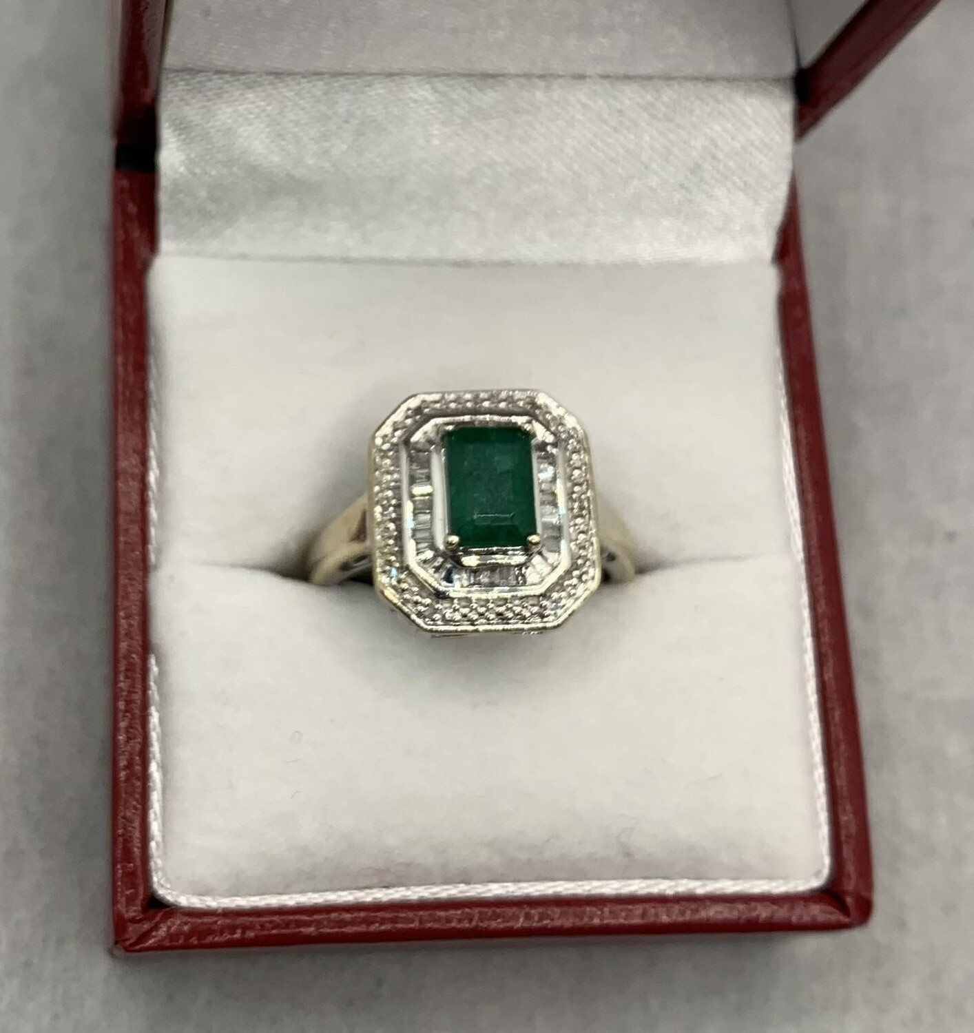 Emerald Cut Genuine Emerald with Diamond Halos