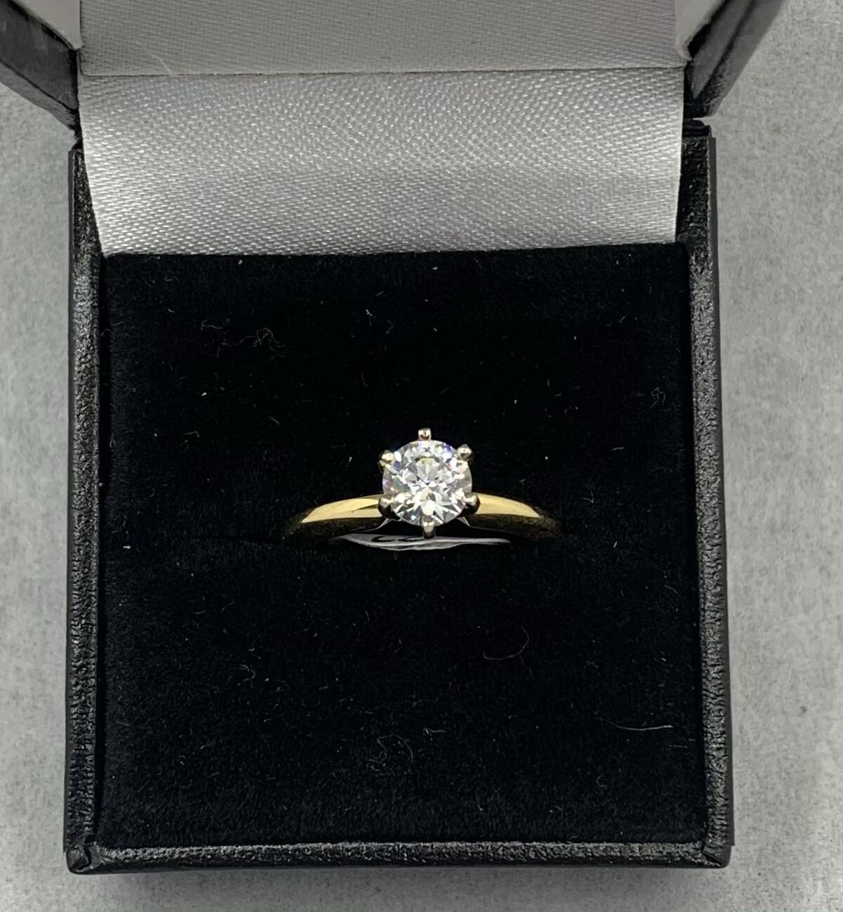 14k .75 Pt CZ Diamond Solitaire