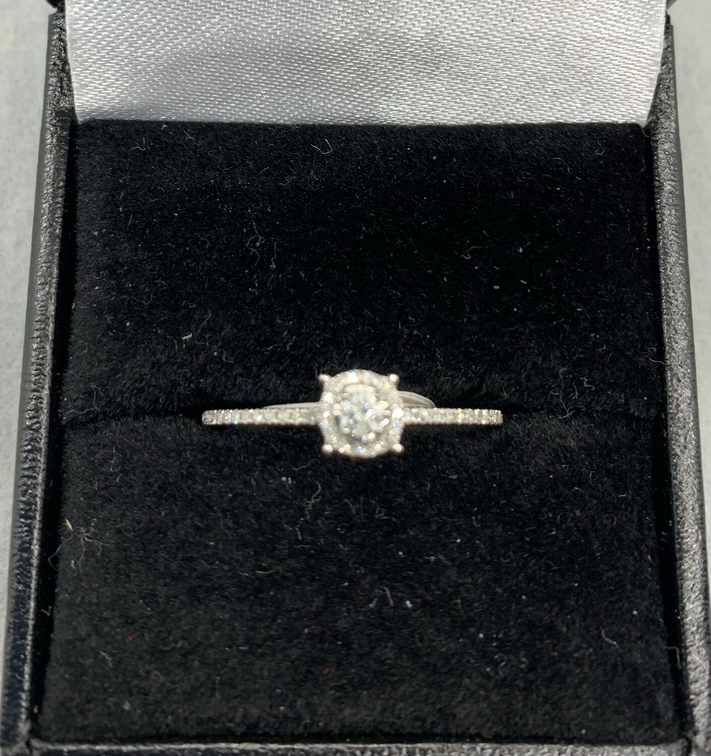 16 Pt With Halo White Gold Engagement Ring