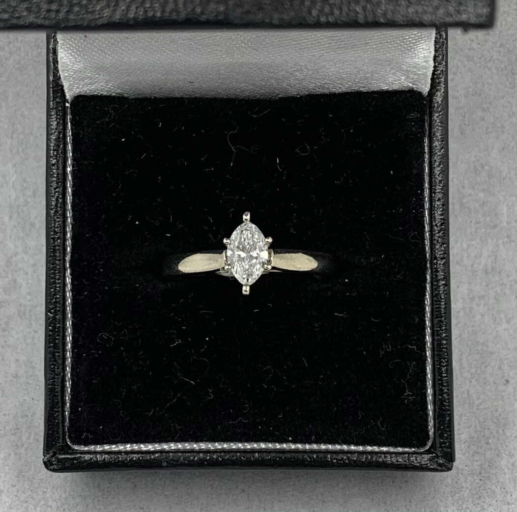 60pt Marquis Solitaire Si1 H 14k set in White Gold