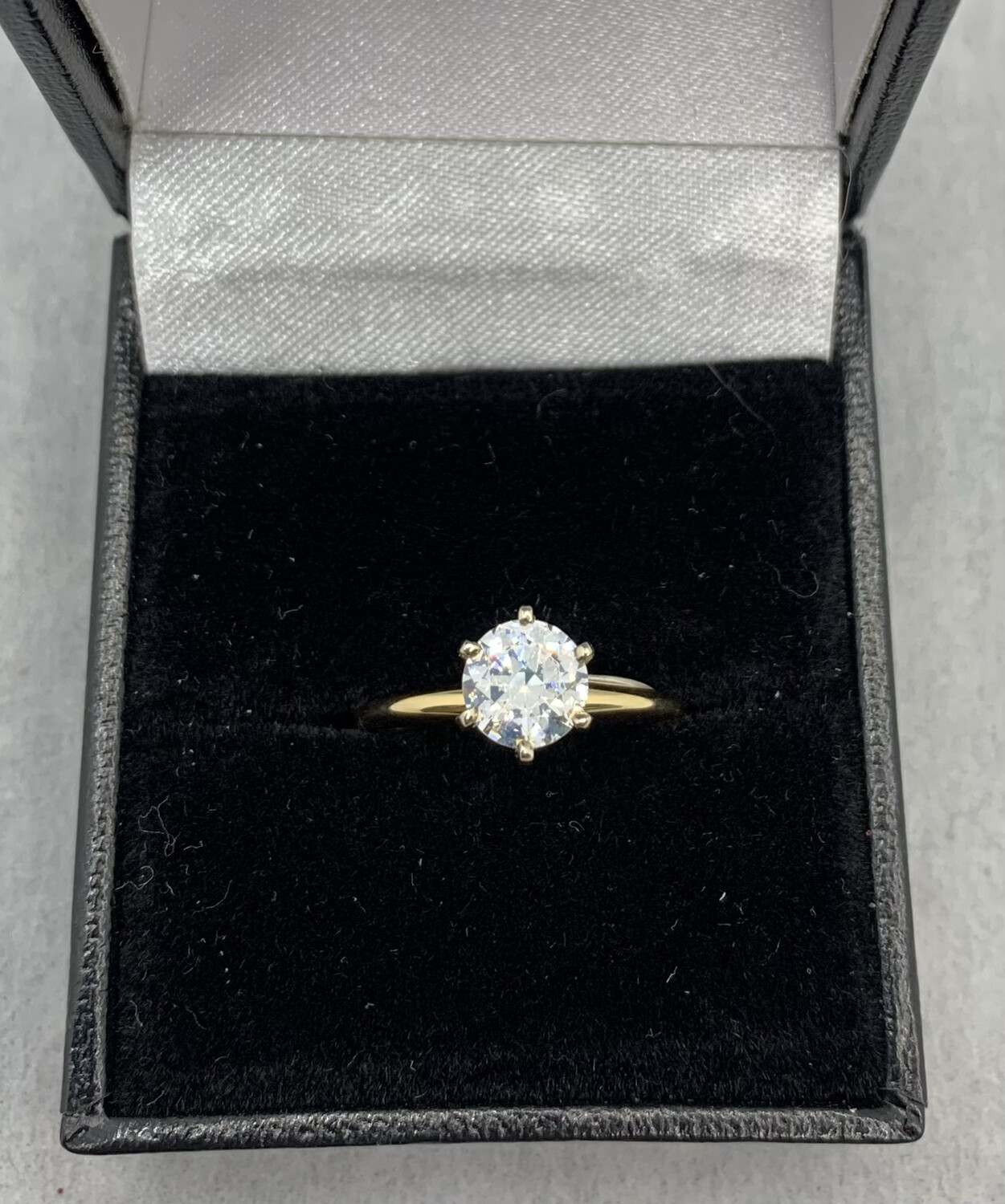 1 Ct CZ Cathedral Mount Yellow Gold