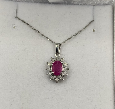 Ruby And Diamond Pendant With 10kt 16 Inch White Gold Chain