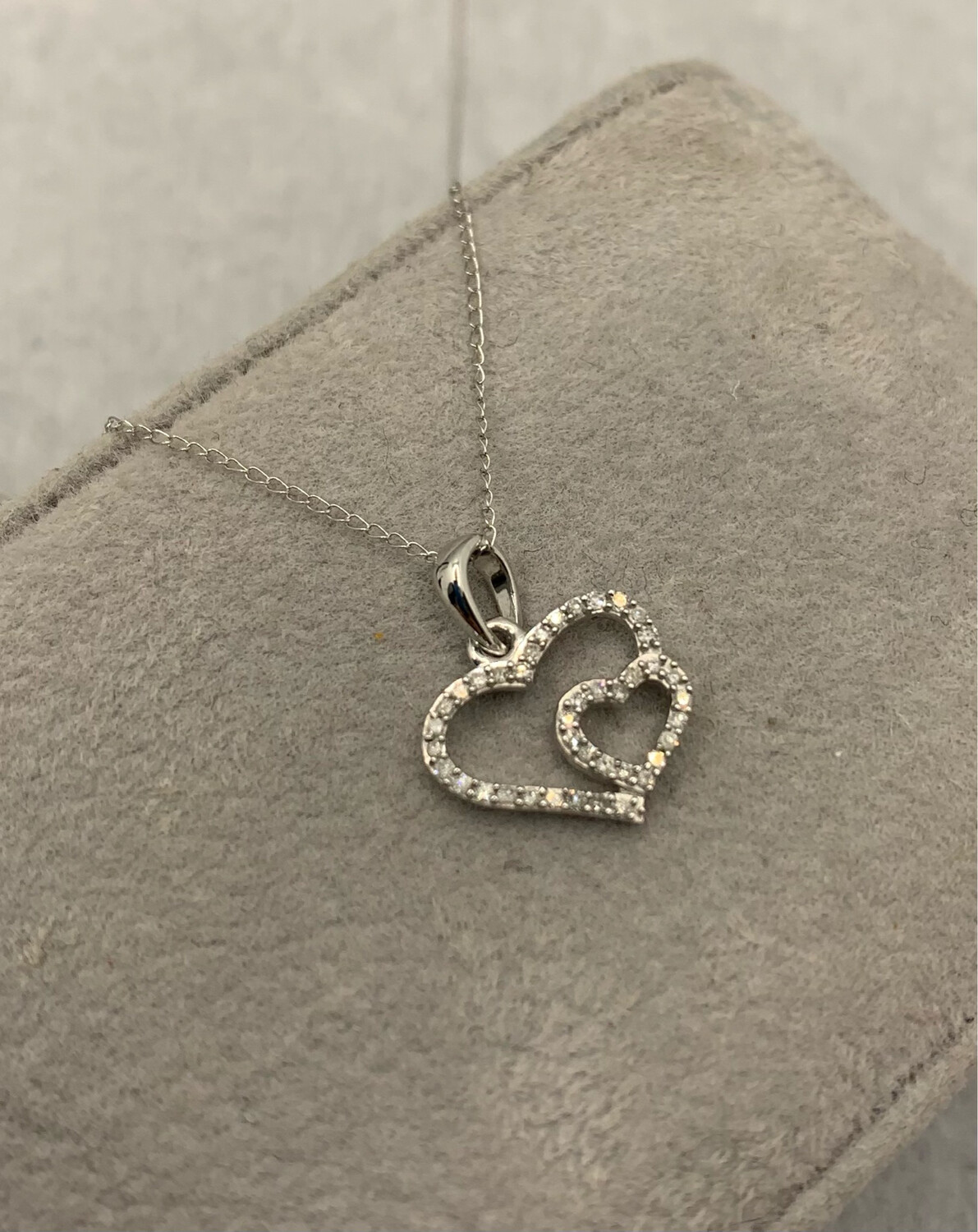 Double Hearts Diamond .10 Pt Total Weight Pendant