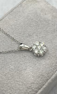 Diamond Cluster Pendant White Gold