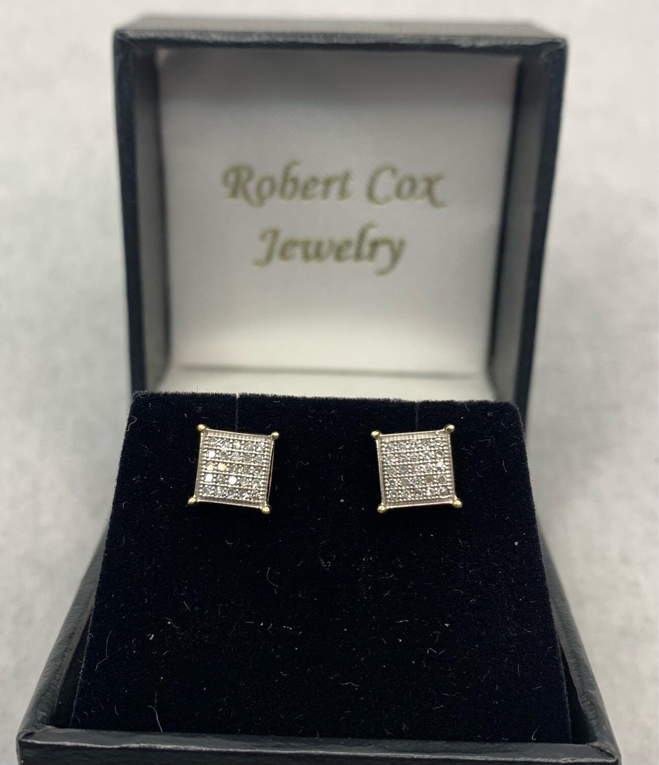 Shimmering 15 pt. Total Weight Diamond Post Earrings set in 10K Yellow Gold