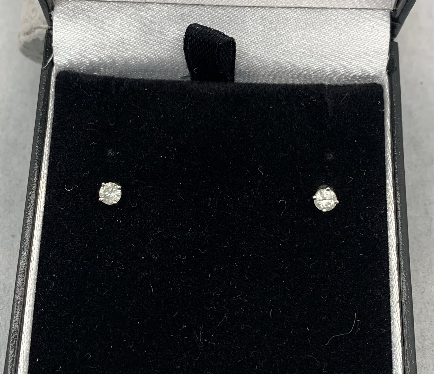 50 Pt Total Weight Diamond Studs 14 Kt White Gold