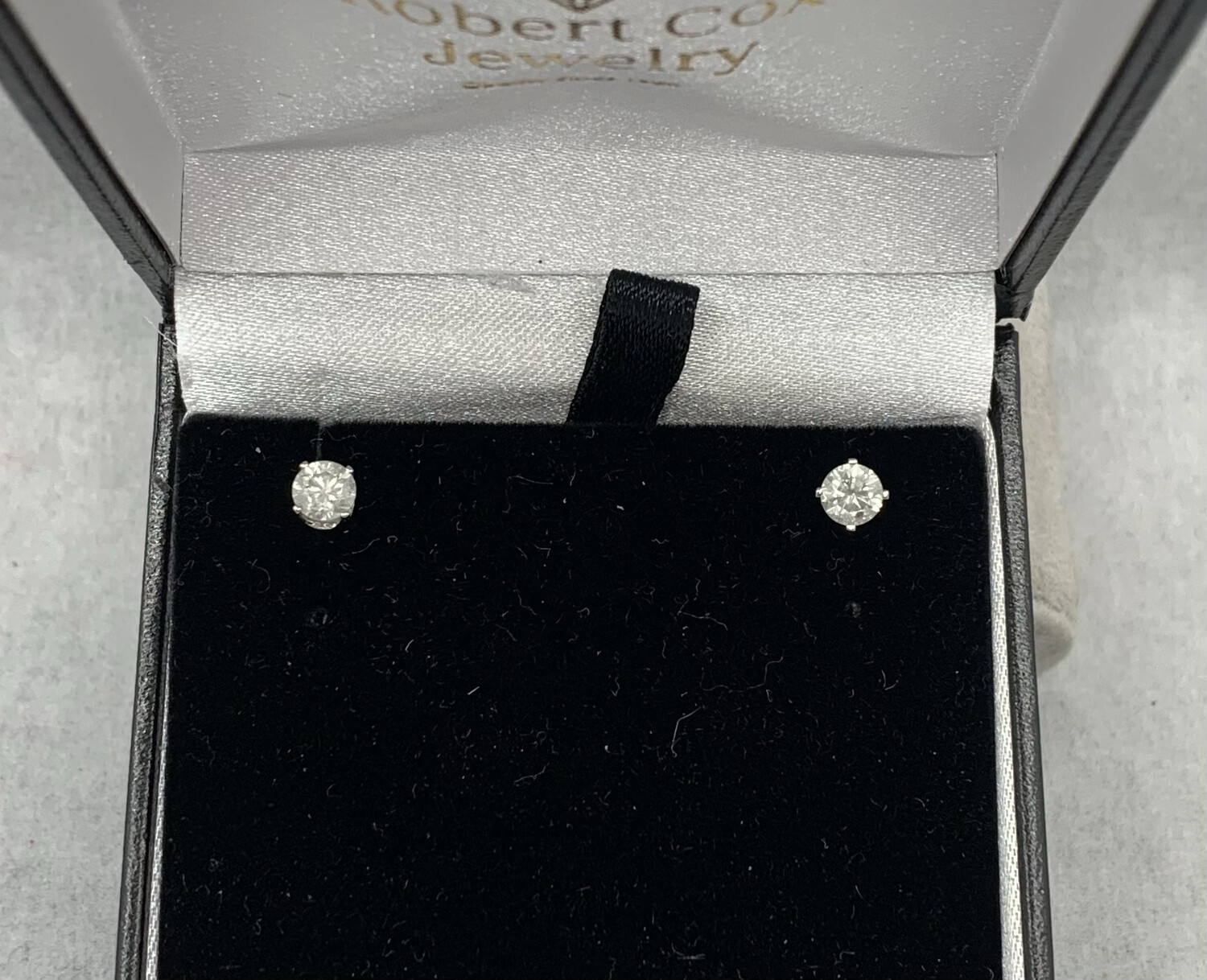 3/4 Ct Total Weight Diamond Studs Screw Back Posts 14 Kt White Gold