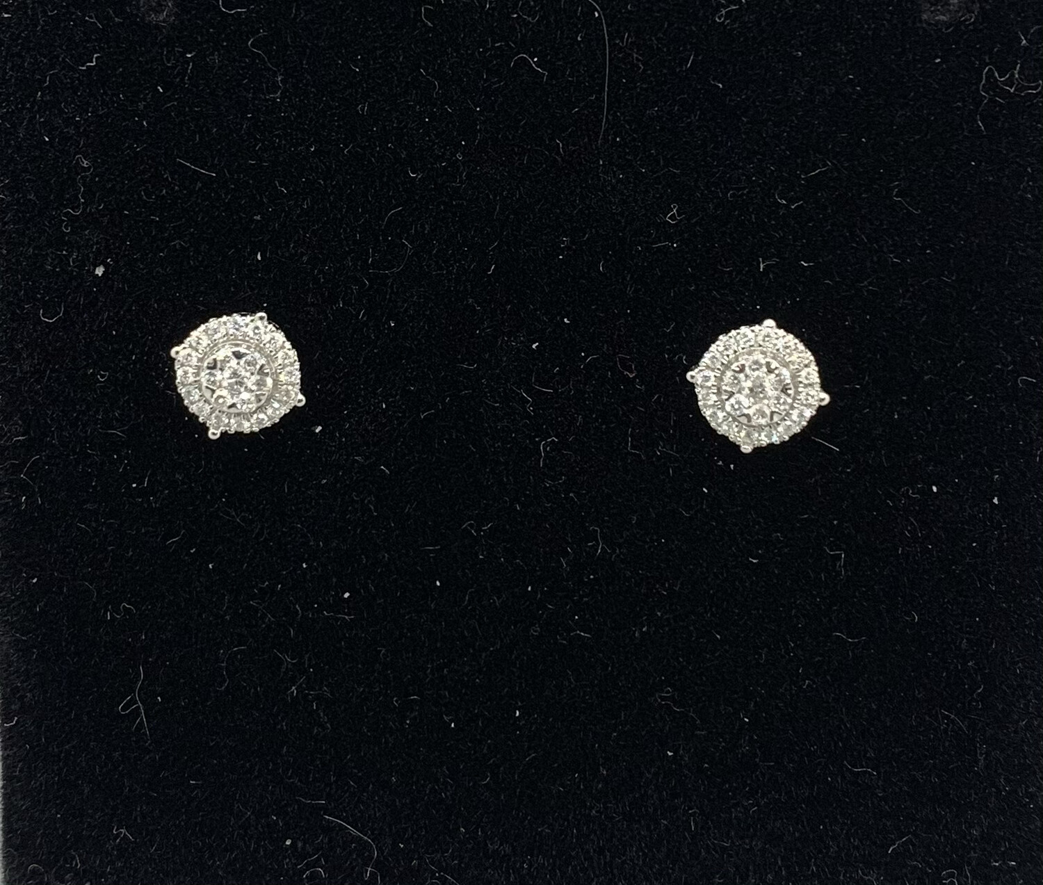 25 Pts Total Weight Diamond Cluster Halos With Screw Back Posts 14kt White Gold
