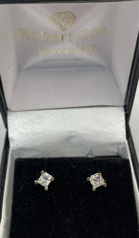 38 Pt Total Weight Princess Cut Diamond Studs