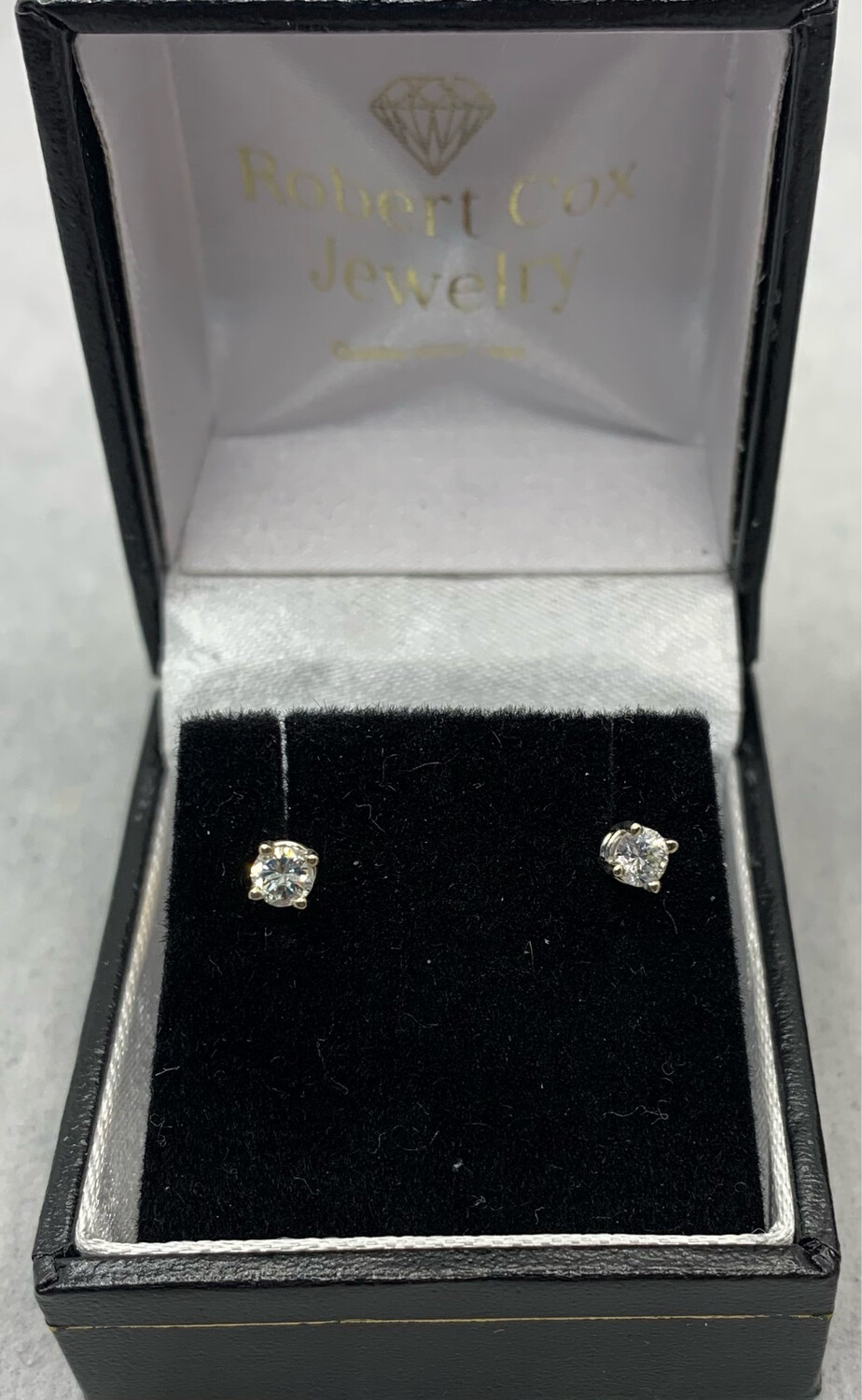 34 Pts Total Weight Brilliant Cut Diamond Studs 14kt White Gold