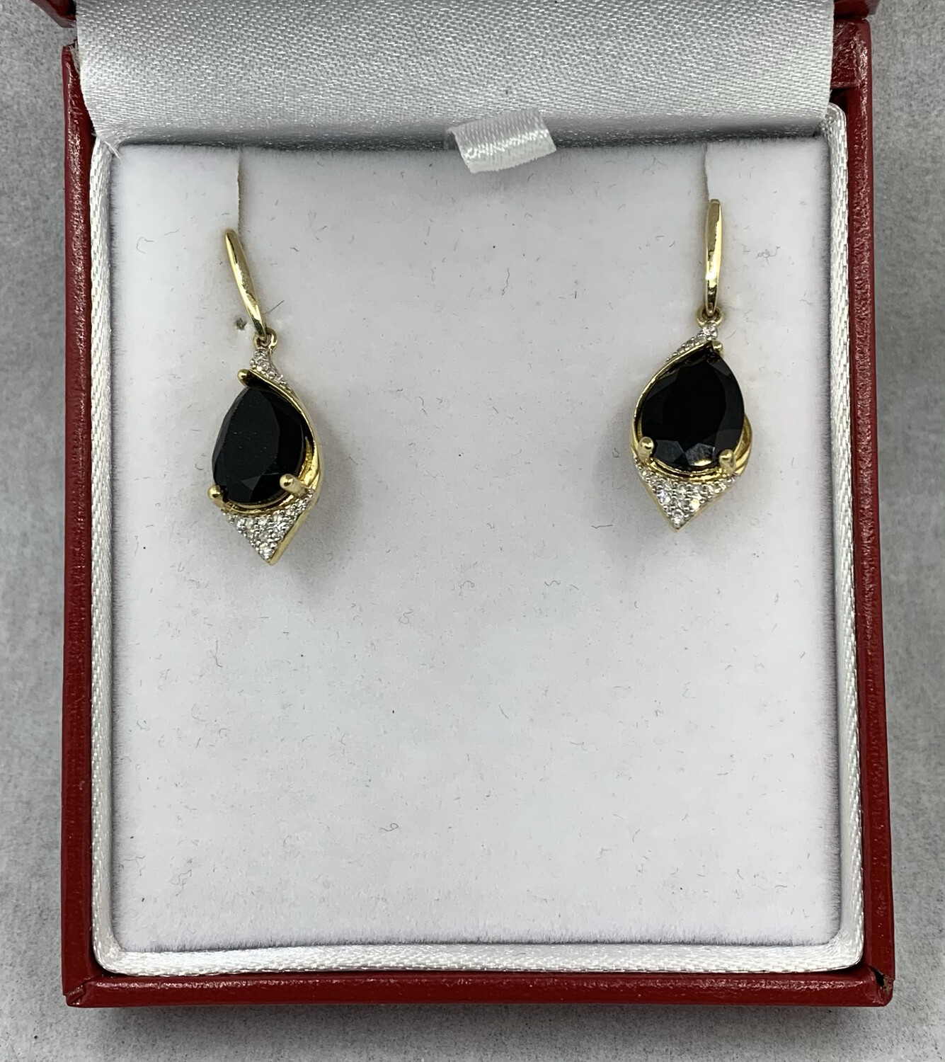 Black Onyx And Diamond Hanging Post Earrings