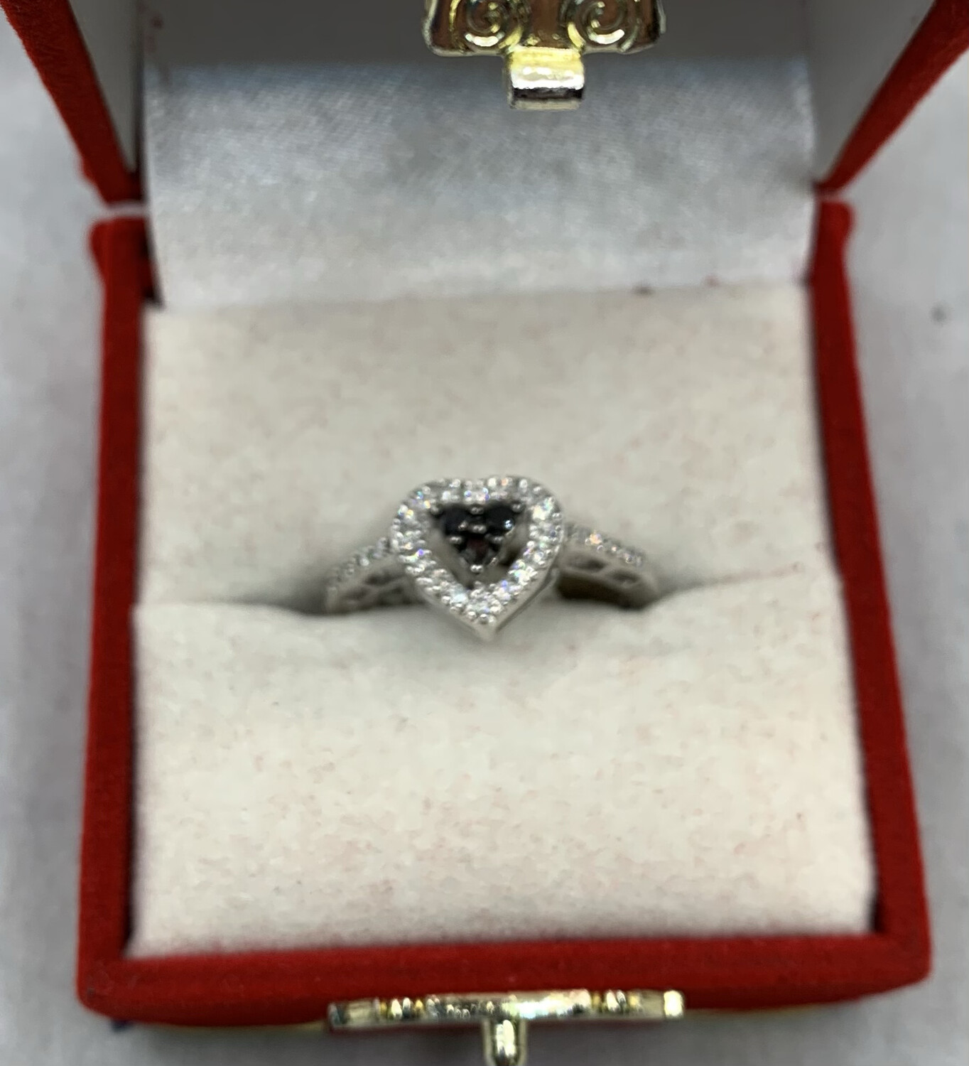 Black Diamond With Diamond Heart Halo And Band Accents White Gold