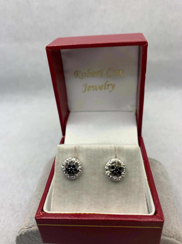 Black Diamond Flower Cluster With White Diamond Halo Post Earrings