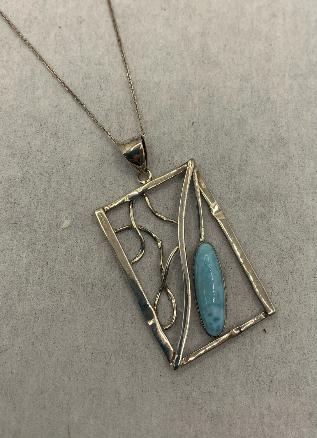 Abstract Larimar Sterling Silver Pendant