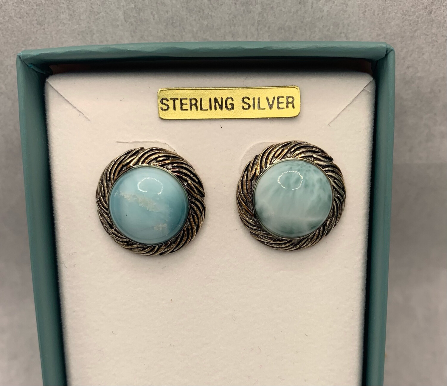 Round Larimar Sterling Silver Earrings