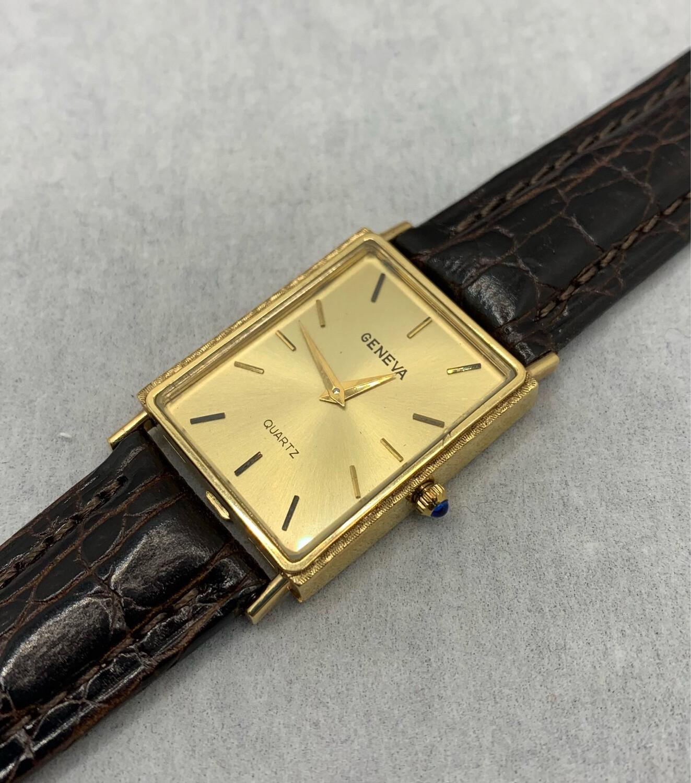 14K Yellow Gold Beautiful Geneva Quartz Wrist Watch Leather Band