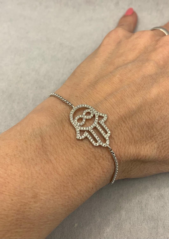 Hand Of God Fatima Sterling Silver Adjustable Bolo Closure Bracelet