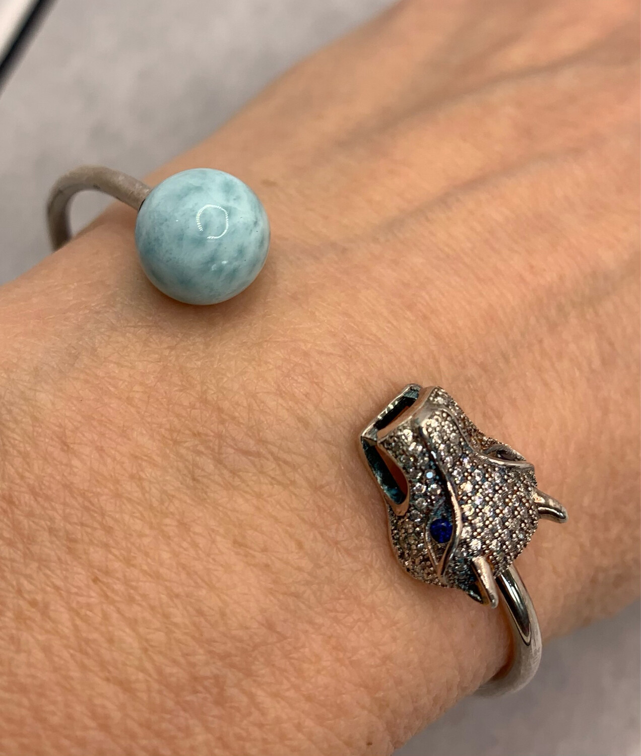 Sterling Silver Cuff Bracelet With Larimar And Tiger