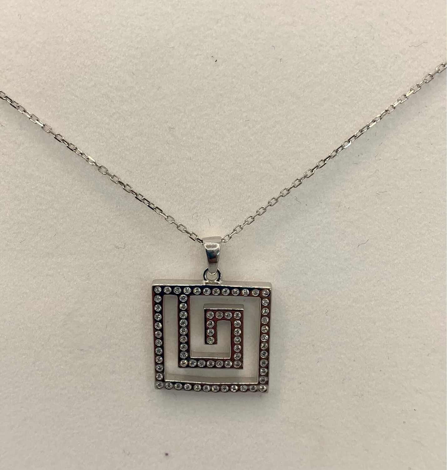 Geometric Square Sterling Silver Pendant With Lobster Claw Closure