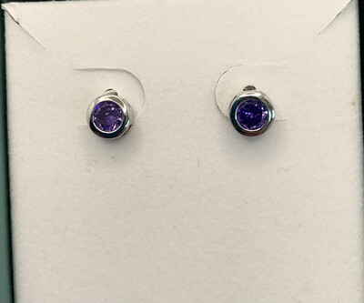 Synthetic Lilac CZ Sterling Silver Post Studs